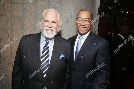 Jeff Blake, vice chairman of Sony Pictures Entertainment and chairman of Worldwide Marketing and Distribution of Sony Pictures Worldwide Marketing and Distribution, left, and Dwight Caines, president of theatrical marketing for Columbia TriStar Motion Pictures Group, arrive at Columbia Pictures screening of 'Captain Phillips', on in Beverly Hills, Calif