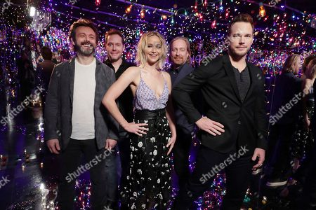 "Michael Sheen, Writer Jon Spaihts, Jennifer Lawrence, Director Morten Tyldum and Chris Pratt seen at Columbia Pictures' ""Passengers"" Infinity Room Photo Call, in Los Angeles, CA"