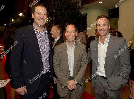 """From left, John Orlando, Head of Digital Development, Crackle, Andy Kaplan, President, Sony Pictures Television Networks, and Eric Berger, Executive Vice President, Digital Networks, Crackle, attend the screening of """"Cleaners"""" at Sony Pictures Studio's Cary Grant Theater, in Culver City, Calif"""