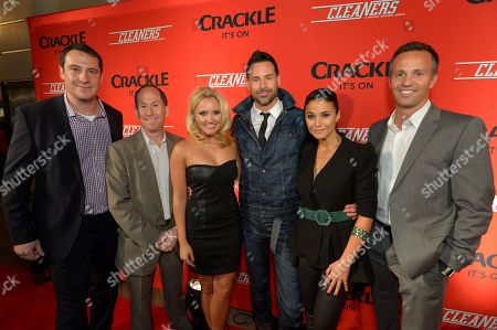 """Stock Photo of From left, John Orlando, Head of Digital Development, Crackle, Andy Kaplan, President, Sony Pictures Television Networks, Emily Osment, writer/director Paul Leyden, Emmanuelle Chriqui, and Eric Berger, Executive Vice President, Digital Networks, Crackle, attend the screening of """"Cleaners"""" at Sony Pictures Studio's Cary Grant Theater, in Culver City, Calif"""