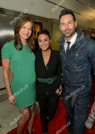 """From left, Michelle Monaghan, Emmanuelle Chriqui and Paul Leyden attend the screening of """"Cleaners"""" at Sony Pictures Studio's Cary Grant Theater, in Culver City, Calif"""