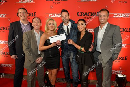 """From left, John Orlando, Head of Digital Development, Crackle, Andy Kaplan, President, Sony Pictures Television Networks, Emily Osment, writer/director Paul Leyden, Emmanuelle Chriqui, and Eric Berger, Executive Vice President, Digital Networks, Crackle, attend the screening of """"Cleaners"""" at Sony Pictures Studio's Cary Grant Theater, in Culver City, Calif"""
