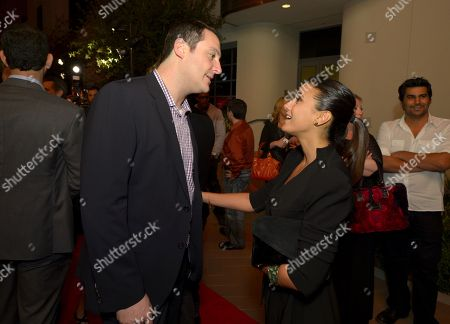 """John Orlando, Head of Digital Development, Crackle, left, and Emmanuelle Chriqui attend the screening of """"Cleaners"""" at Sony Pictures Studio's Cary Grant Theater, in Culver City, Calif"""