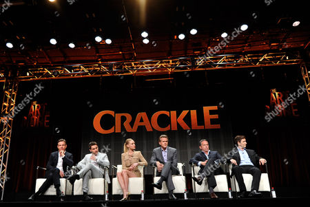 Dennis Quaid, Christian Cooke, Kate Bosworth, Cary Elwes and series' writers and executive producers, Gardner Stern and Chuck Rose speak onstage during Crackle's The Art of More at the 2015 Summer TCA Tour at The Beverly Hilton Hotel on in Beverly Hills, California
