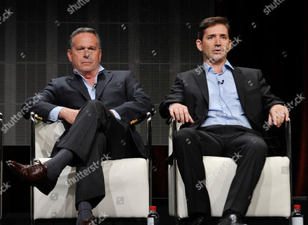 Gardner Stern and Chuck Rose, series' writers and executive producers, speak onstage during Crackle's The Art of More at the 2015 Summer TCA Tour at The Beverly Hilton Hotel on in Beverly Hills, California