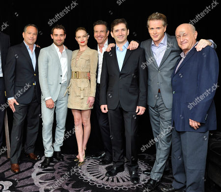 Gardner Stern, series' writer and executive producer, Christian Cooke, Kate Bosworth, Dennis Quaid, Chuck Rose, series' writer and executive producer, Cary Elwes and Laurence Mark, executive producer, at Crackle's The Art of More at the 2015 Summer TCA Tour at The Beverly Hilton Hotel on in Beverly Hills, California