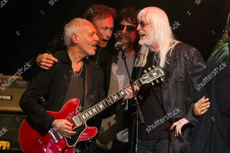 "Musician Peter Frampton (L) and Edgar Winter (R) perform on stage during the David Lynch Foundation Honors Ringo Star ""A Lifetime of Peace & Love"" event held at the El Rey Theatre on in Los Angeles"