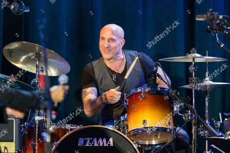 """Drummer Kenny Aronoff performs on stage during the David Lynch Foundation Honors Ringo Star """"A Lifetime of Peace & Love"""" event held at the El Rey Theatre on in Los Angeles"""