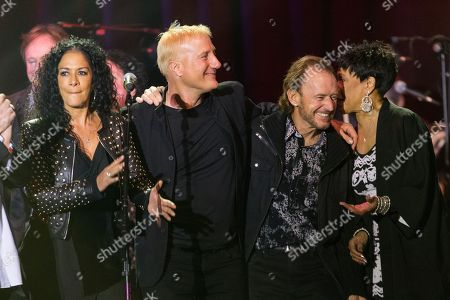 "From left, musicians Sheila E. and Gregg Bissonette, and Bettye LaVette (far R) on stage during the David Lynch Foundation Honors Ringo Star ""A Lifetime of Peace & Love"" event held at the El Rey Theatre on in Los Angeles"