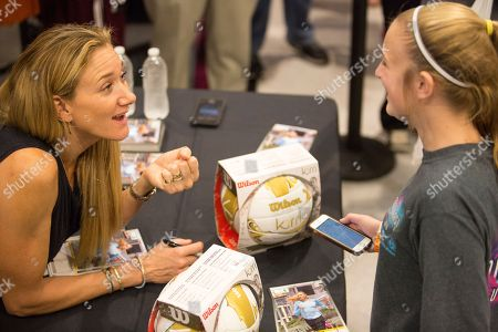 American professional beach volleyball player, three-time Olympic gold medalist, and a one-time Olympic bronze medalist Kerri Walsh Jennings meets with fans and signs autographs during a recent store appearance at the new DICK's Sporting Goods Grand Opening Celebration, in Katy, TX