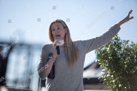 "American professional beach volleyball player, three-time Olympic gold medalist, and a one-time Olympic bronze medalist Kerri Walsh Jennings participates in a question and answer session following a viewing of her documentary ""Gold Within"" during a recent store appearance at the new DICK's Sporting Goods Grand Opening Celebration, in Katy, TX"