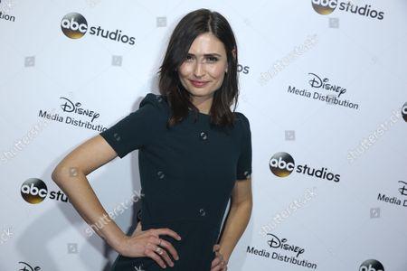 Karolina Wydra arrives at the at Disney Media Distribution International Upfronts at The Walt Disney Studios Lot, in Burbank, Calif
