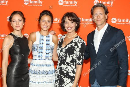 """Cast members of """"Chasing Life,"""" from left, Haley Ramm, Italia Ricci, Mary Page Keller, and Steven Weber attend the Disney/ABC Television Group 2014 Summer TCA held at the Beverly Hilton Hotel, in Beverly Hills, Calif"""