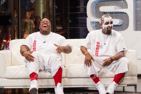 From left, Krizz Kaliko and Tech N9ne film a segment of SKEE Live on in Los Angeles
