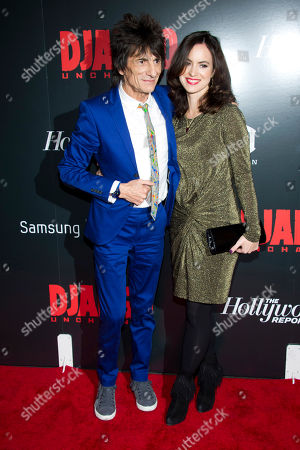 "Ronnie Wood and Sally Humphries attend the premiere of ""Django Unchained"" hosted by The Cinema Society and The Weinstein Company on in New York"