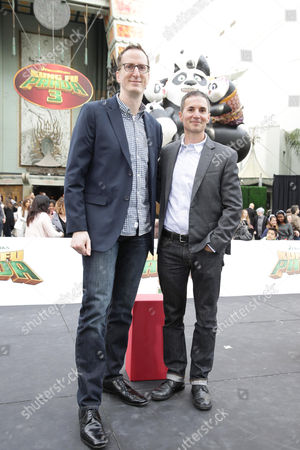 Writer/Producers Glenn Berger and Jonathan Aibel seen at DreamWorks Animation and Twentieth Century Fox World Premiere of 'Kung Fu Panda 3' at TCL Chinese Theater, in Hollywood, CA
