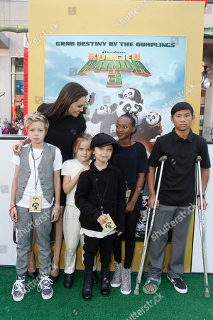 Shiloh Jolie-Pitt, Angelina Jolie, Vivienne Marcheline Jolie-Pitt, Knox Leon Jolie-Pitt, Zahara Jolie-Pitt and Pax Thien Jolie-Pitt seen at DreamWorks Animation and Twentieth Century Fox World Premiere of 'Kung Fu Panda 3' at TCL Chinese Theater, in Hollywood, CA
