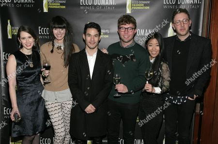 From left, fashion designers Jordana Warmflash, Lindsay Degen, Joseph Altuzarra, Timo Weiland, Donna Kang and Alan Eckstein attend the Ecco Domani Fashion Foundation 2014 Winners Happy Hour, on in New York