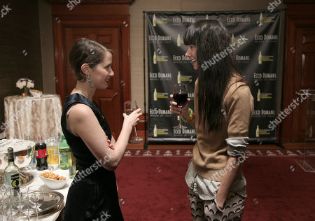 Stock Picture of Fashion designer Jordana Warmflash, left, and Lindsay Degen, right, attend the Ecco Domani Fashion Foundation 2014 Winners Happy Hour, on in New York