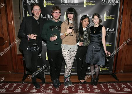 From left, fashion designers Alan Eckstein, Timo Weiland, Lindsay Degen, Donna Kang and Jordana Warmflash attend the Ecco Domani Fashion Foundation 2014 Winners Happy Hour, on in New York