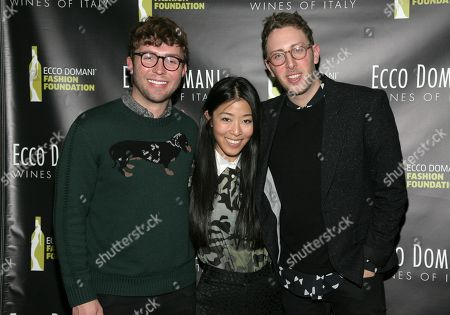 IMAGE DISTRIBUTED FOR ECCO DOMANI FASHION FOUNDATION - From left, fashion designers Timo Weiland, Donna Kang and Alan Eckstein attend the Ecco Domani Fashion Foundation 2014 Winners Happy Hour, on in New York