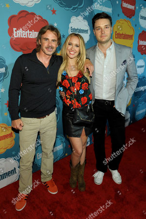 From left, actors Sam Trammell, Anna Camp, and Michael McMillian attend Entertainment Weekly's Comic-Con Celebration at FLOAT at the Hard Rock Hotel, in San Diego