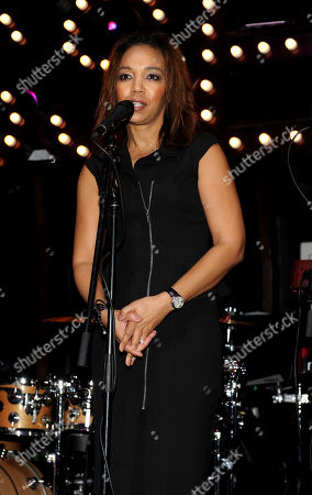 Stock Picture of ESSENCE Multicultural Marketing Mgr. Shawn Thompson speaks at the 5th Annual ESSENCE Black Women in Music reception, on at 1 OAK in Los Angeles, Calif