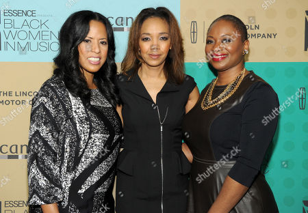 From left, ESSENCE president Michelle Ebanks, ESSENCE Multicultural Marketing Mgr. Shawn Thompson and ESSENCE Editor-In-Chief Vanessa Bush arrive at the 5th Annual ESSENCE Black Women in Music reception, on at 1 OAK in Los Angeles, Calif