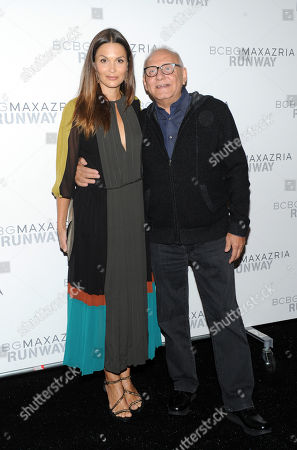 Stock Picture of Designer Max Azria and French actress Barbara Schultz pose together before the BCBG MAX AZRIA Spring 2013 collection is shown at Fashion Week in New York
