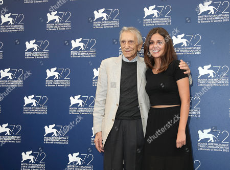 From left, actors Roberto Herlitzka and Elena Bellocchio pose during the photo call for the film Sangue Del Mio Sangue (Blood of my blood) at the 72nd edition of the Venice Film Festival in Venice, Italy, . The 72nd edition of the festival runs until Sept. 12