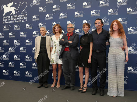 From left, actors Roberto Herlitzka, Lidiya Liberman, director Marco Bellocchio, actors Alba Rohrwacher, Pier Giorgio Bellocchio, and Federica Fracassi pose during the photo call for the film Sangue Del Mio Sangue (Blood of my blood) at the 72nd edition of the Venice Film Festival in Venice, Italy, . The 72nd edition of the festival runs until Sept. 12