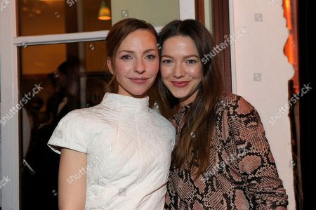 Stock Image of Katharina Schuttler and Hannah Herzsprung attend The Hollywood Reporter party held at Borchardt's Restaurant to celebrate the 2014 Berlin International Film Festival with Studio Babelsberg and Audi,, in Berlin