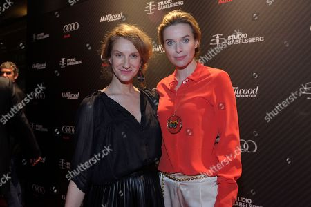 Actress Thekla Reuten (right) and guest attend The Hollywood Reporter party held at Borchardt's Restaurant to celebrate the 2014 Berlin International Film Festival with Studio Babelsberg and Audi,, in Berlin