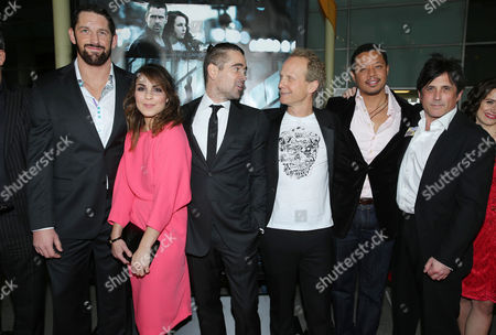 """Wade Barrett, Noomi Rapace, Colin Farrell, Director Niels Arden Oplev, Terrence Howard and Screenplay Writer J.H Wyman at FilmDistrict's World Premiere of """"Dead Man Down"""" held at the ArcLight Hollywood, on in Los Angeles"""