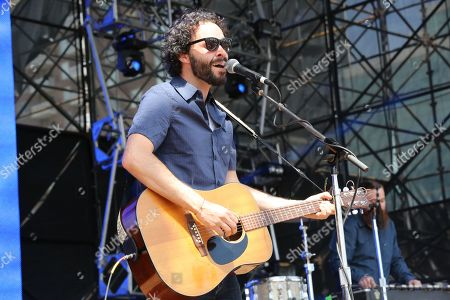 Stock Picture of Israel Nebeker of Blind Pilot performs as part of Final Four Big Dance Concerts at Centennial Olympic Park, in Atlanta