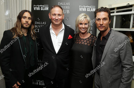Jared Leto, Chairman of the MAC AIDS Fund and Group President, The Estee Lauder Companies Inc., John Demsey, MAC Cosmetics Global Brand President, Karen Buglisi Weiler and Matthew McConaughey attend the Focus Features and MAC Viva Glam celebration of Dallas Buyers Club, on in Los Angeles