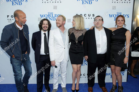 Producer Eric Fellner, Director/Writer Edgar Wright, Simon Pegg, Rosamond Pike, Nick Frost and Producer Nira Park seen at Focus Features Los Angeles Premiere of 'The World's End', on Wednesday, August, 21, 2013 in Los Angeles