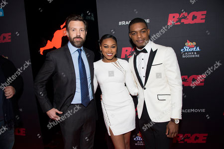 """Actors Jason Sudeikis, Shanice Banton and Stephan James seen at the Focus Features premiere of """"Race"""", in Toronto"""