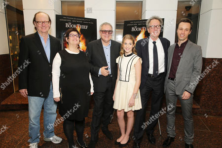Stock Image of Producer Ken Blancato, Producer Karen Rosenfelt, Director Brian Percival, Sophie Nelisse, Geoffrey Rush and novelist Markus Zusak seen at Fox 2000 Pictures special screening of 'The Book Thief' held at the Simon Wisenthal Center's Museum of Tolerance, on Saturday, Nov, 2, 2013 in Los Angeles