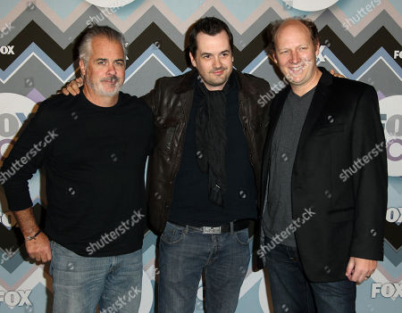 Peter O'Fallon, left, Jim Jeffries, center, and Dan Bakkedahl arrive at the Winter TCA Fox All-Star Party at the Langham Huntington Hotel, in Pasadena, Calif