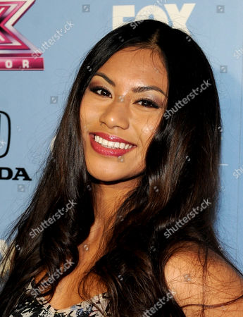 """Stock Picture of Contestant Ellona Santiago arrives at FOX's """"The X Factor"""" Season 3 Finalists Party,, at the SLS Hotel in Beverly Hills, Calif"""