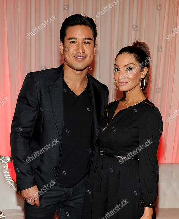 """From left, host Mario Lopez and wife Courtney Laine Mazza attend FOX's """"The X Factor"""" Season 3 Finalists Party,, at the SLS Hotel in Beverly Hills, Calif"""