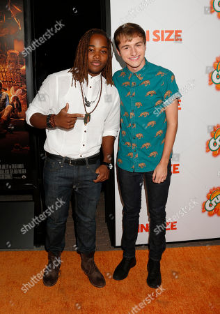 "Leon Thomas and Lucas Cruikshank attend the ""Fun Size"" Los Angeles Premiere at Paramount Studios on in Los Angeles, California"