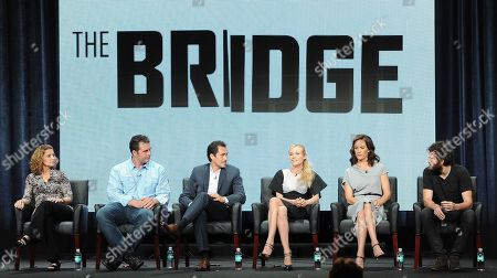 "From left, executive producers Meredith Stiehm, Elwood Reid, actors Demian Bichir, Diane Kruger, Annabeth Gish and Thomas M. Wright participate in ""The Bridge"" panel at the FX 2013 Summer TCA press tour at the Beverly Hilton Hotel on in Beverly Hills, Calif"