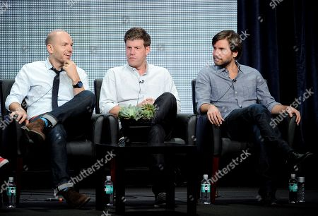 """From left, actors Paul Scheer, Stephen Rannazzisi and Jon Lajoie participate in """"The League"""" panel at the FX 2013 Summer TCA press tour at the Beverly Hilton Hotel on in Beverly Hills, Calif"""