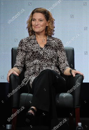 """Executive producer Meredith Stiehm participates in """"The Bridge"""" panel at the FX 2013 Summer TCA press tour at the Beverly Hilton Hotel on in Beverly Hills, Calif"""