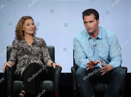 "From left, executive producers Meredith Stiehm and Elwood Reid participate in ""The Bridge"" panel at the FX 2013 Summer TCA press tour at the Beverly Hilton Hotel on in Beverly Hills, Calif"