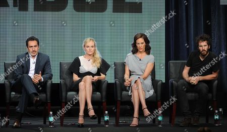 """From left, actors Demian Bichir, Diane Kruger, Annabeth Gish and Thomas M. Wright participate in """"The Bridge"""" panel at the FX 2013 Summer TCA press tour at the Beverly Hilton Hotel on in Beverly Hills, Calif"""