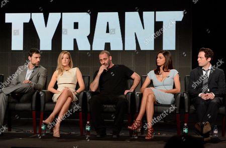 "From left, cast members Adam Rayner, Jennifer Finnigan, Ashraf Barhom, Moran Atias and Justin Kirk participate in the ""Tyrant"" panel at the FX Winter TCA Press Tour, on at the Langham Huntington, in Pasadena, Calif"