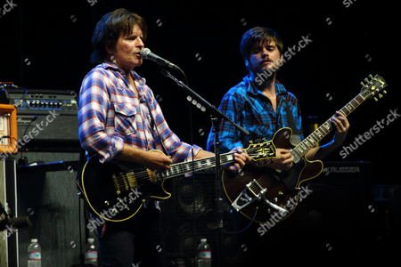 John Fogerty with Ben Lovett, Marcus Mumford, Arni Arnason, Winston Marshall, and Ted Dwane performs on day 2 of the Gentlemen of the Road stop at Francis Field on in St. Augustine FL